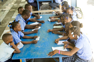 Foundationn, L'Athletique d'Haiti,kids eating and writing thank you letters, Haiti 2013